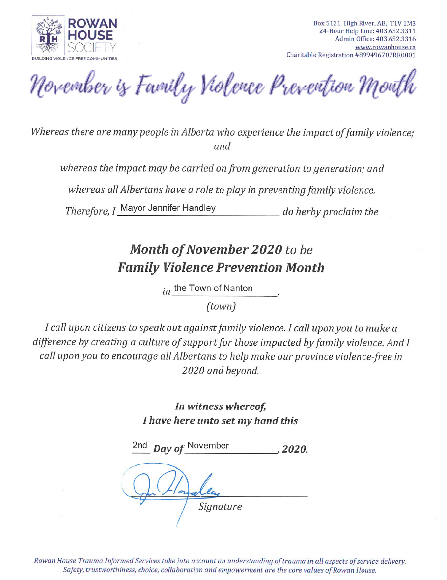Rowan House Family Violence Month
